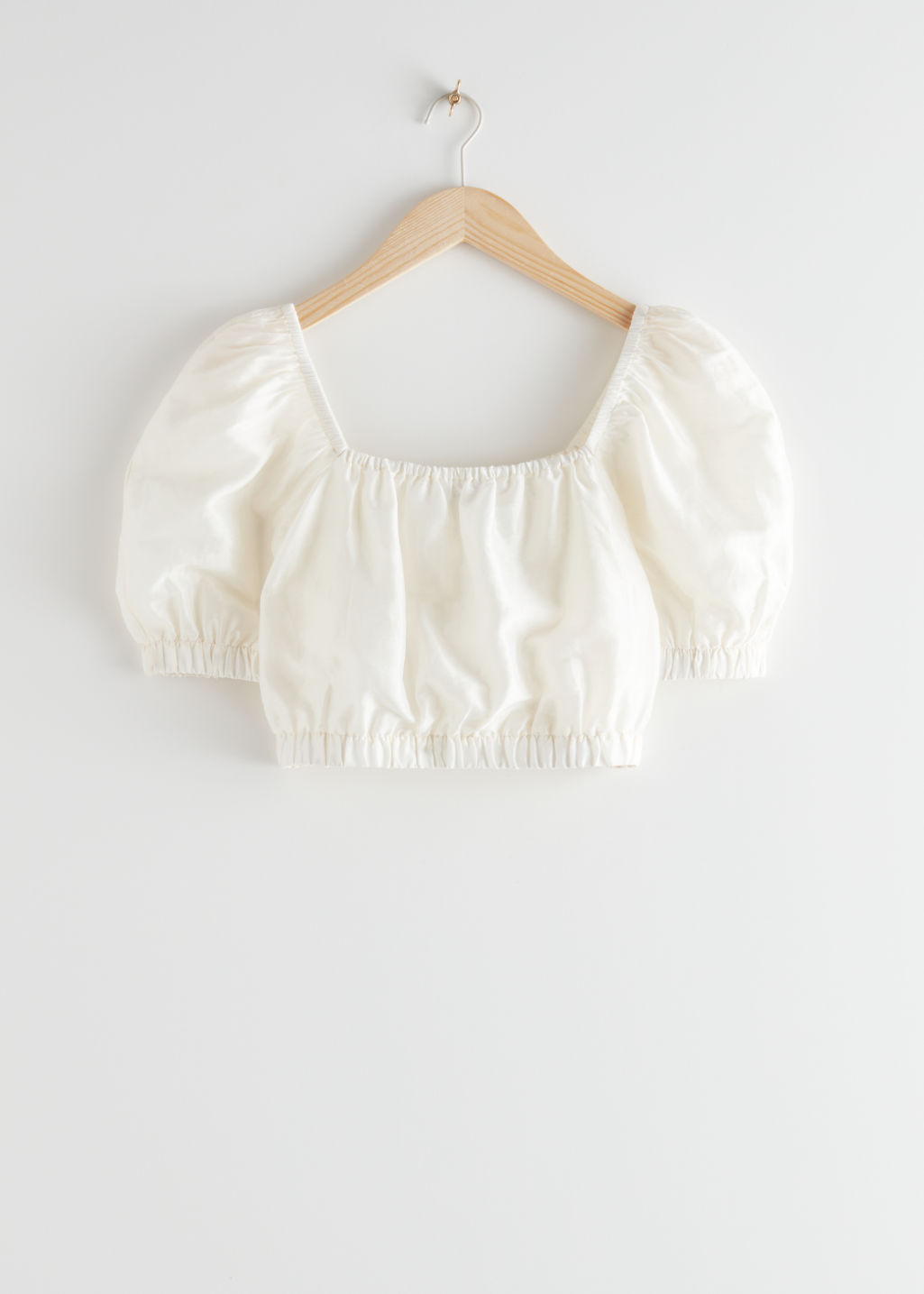 StillLife Front Image of Stories Puff Sleeve Crop Top in White