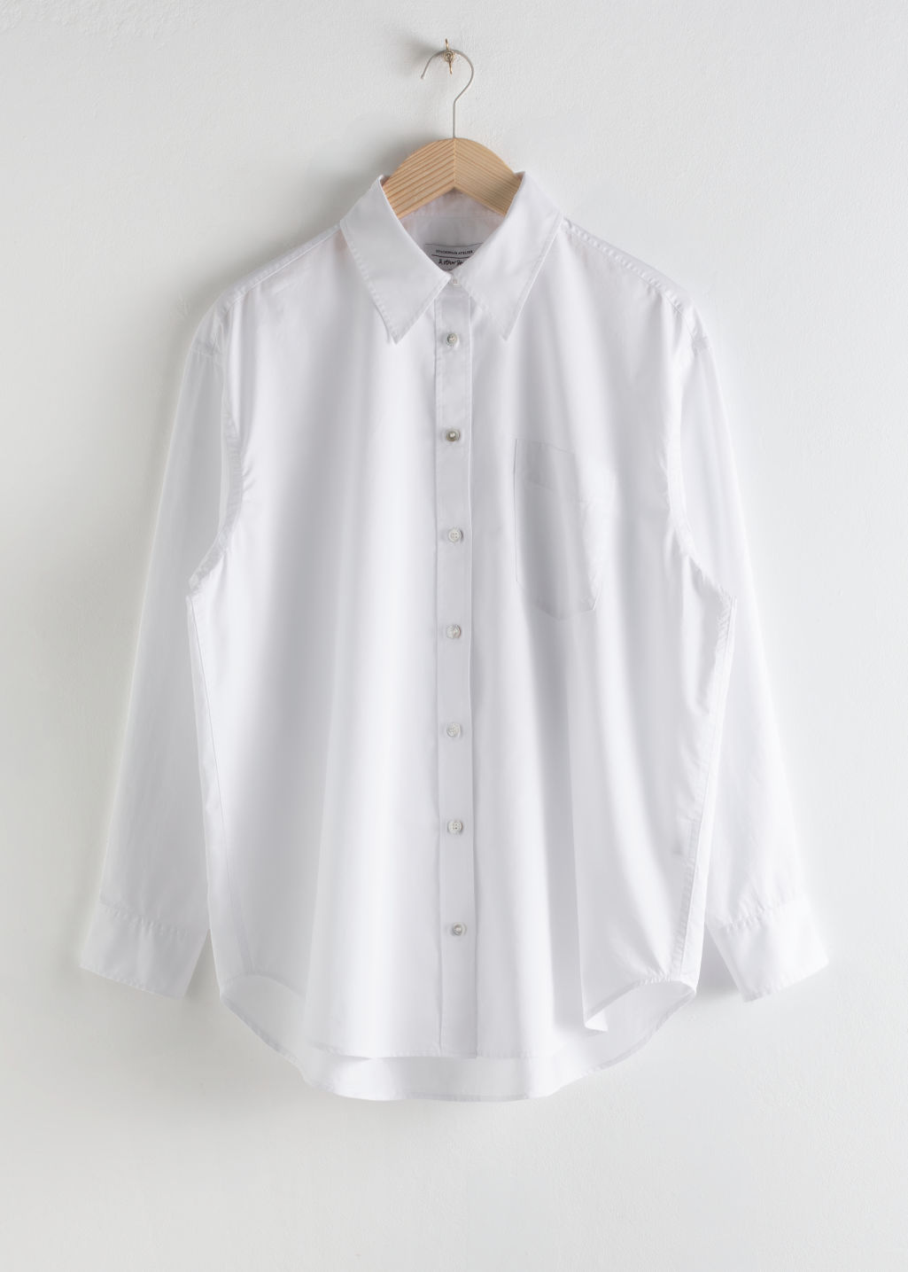 StillLife Front Image of Stories Oversized Pearl Button Cotton Shirt in White