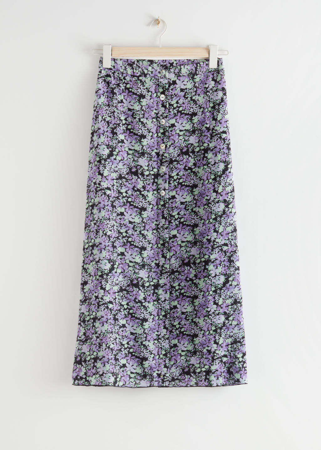 StillLife Front Image of Stories Floral Button Up Midi Skirt in Purple