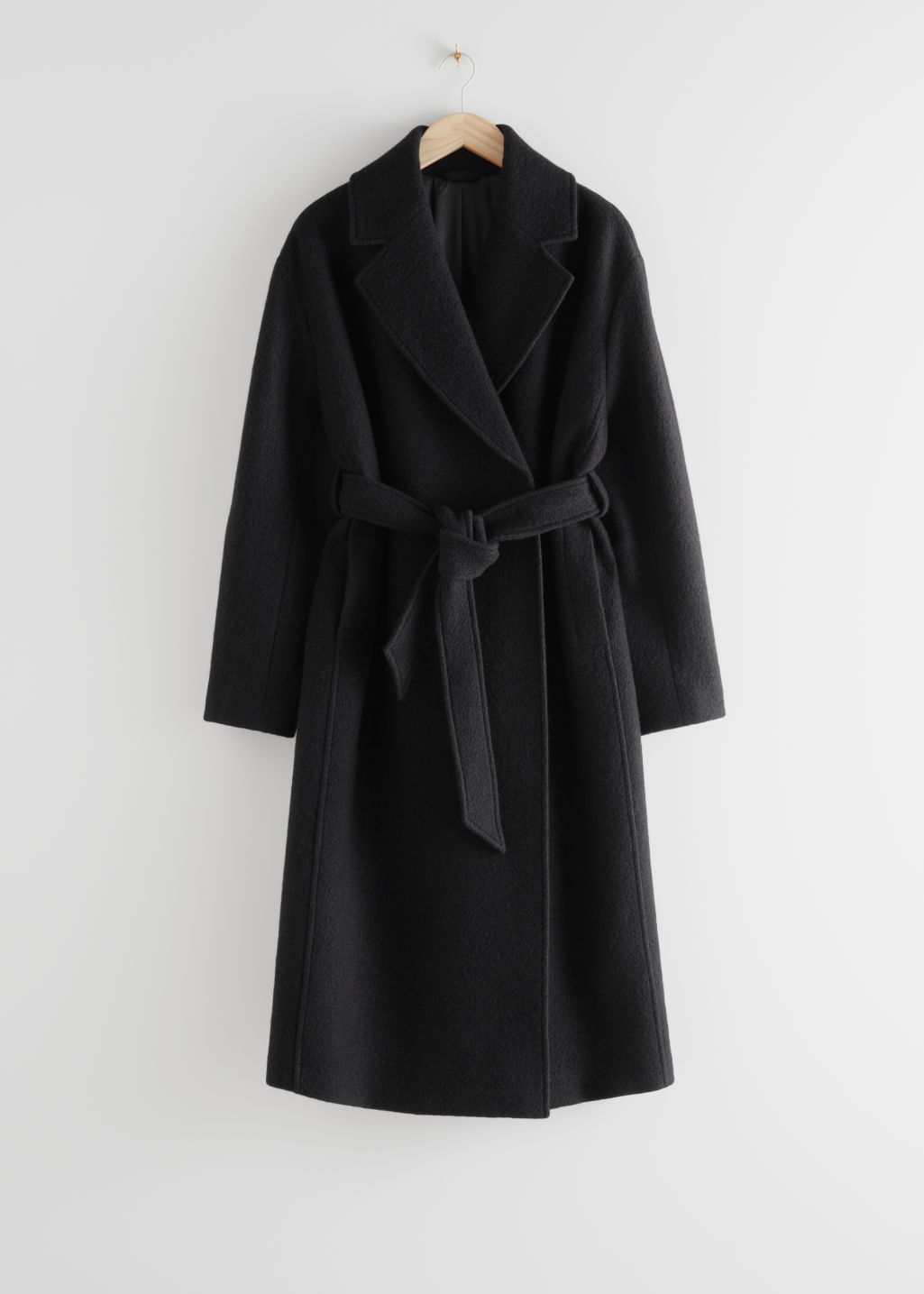 StillLife Front Image of Stories Belted Voluminous Wool Coat in Black