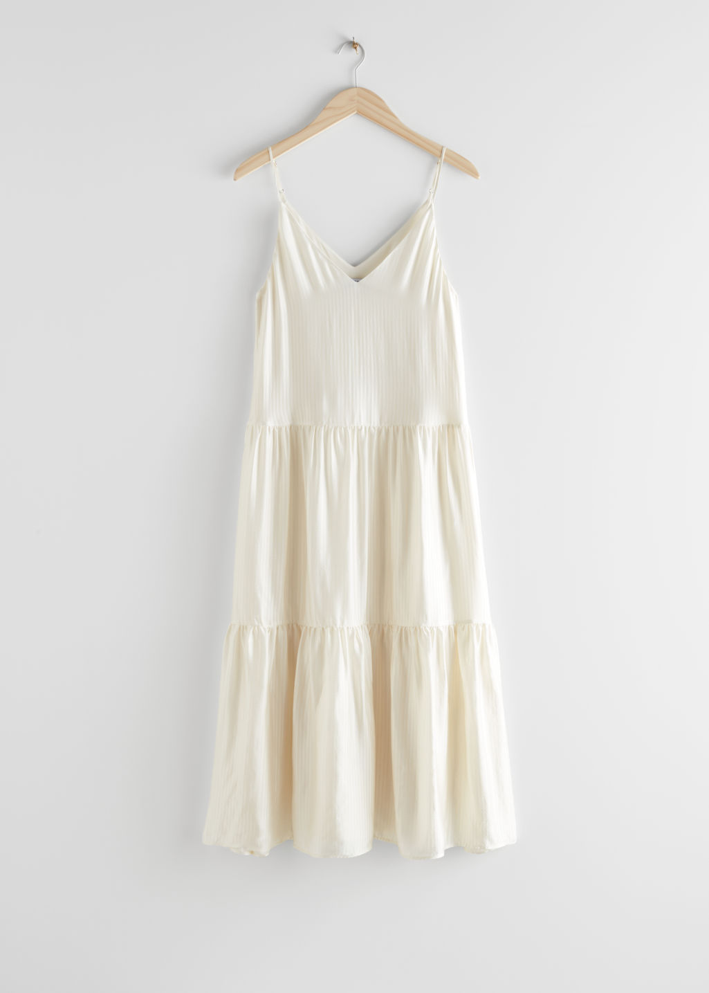 StillLife Front Image of Stories Tiered Viscose Midi Dress in White