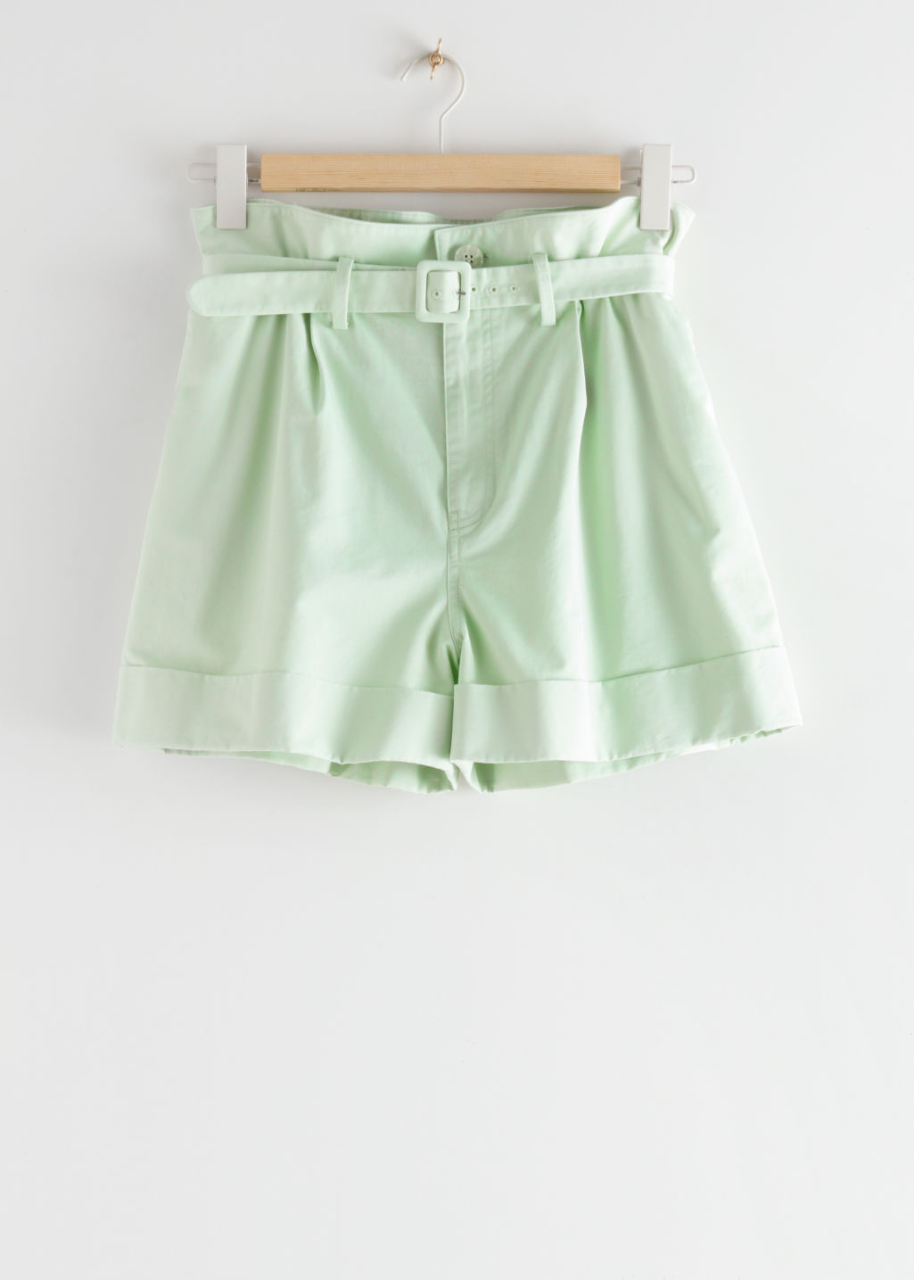 StillLife Front Image of Stories Belted Paperbag Waist Shorts in Green