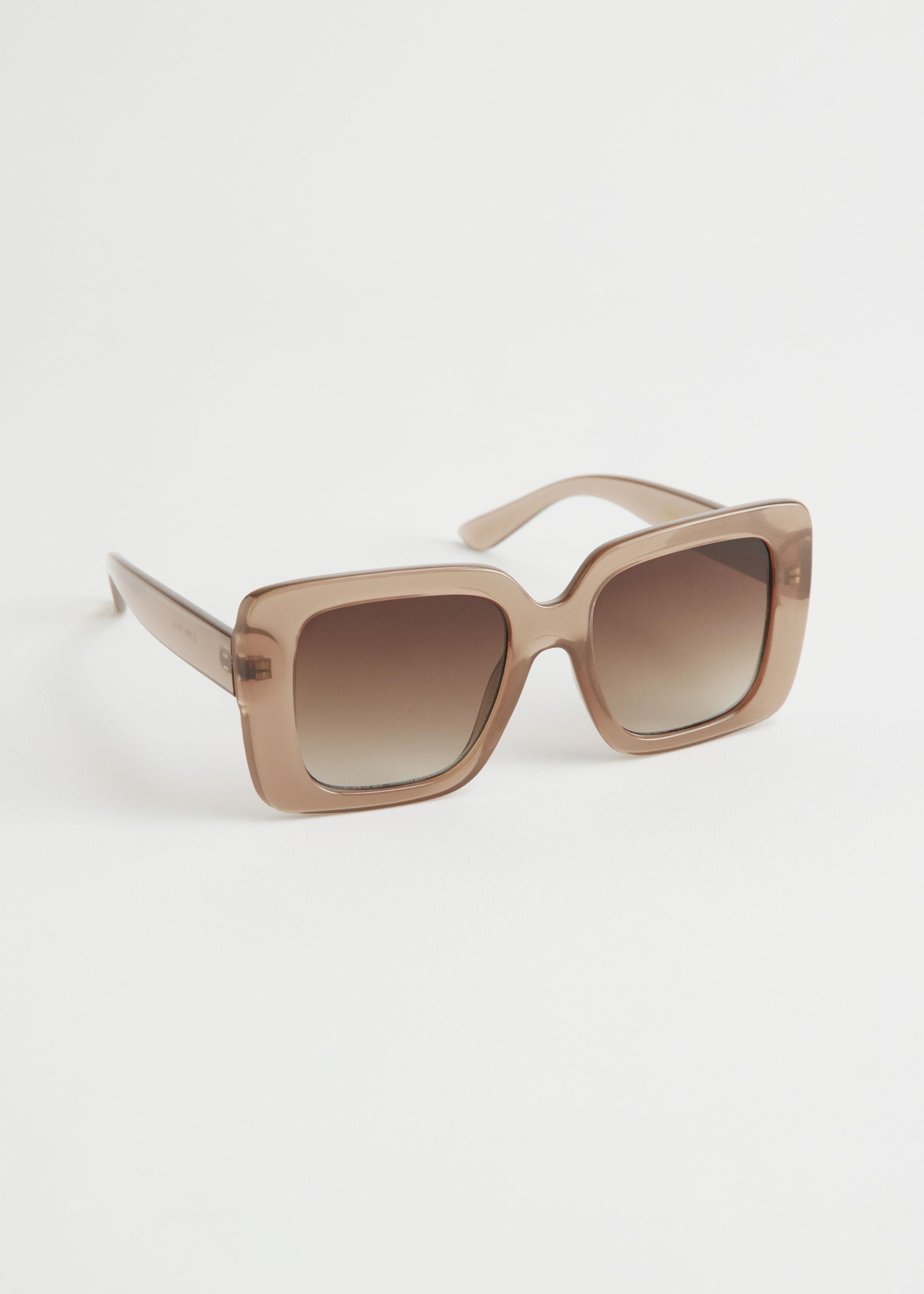 앤 아더 스토리즈 스퀘어 프레임 오버사이즈 선글라스 & OTHER STORIES Squared Frame Oversized Sunglasses,Beige