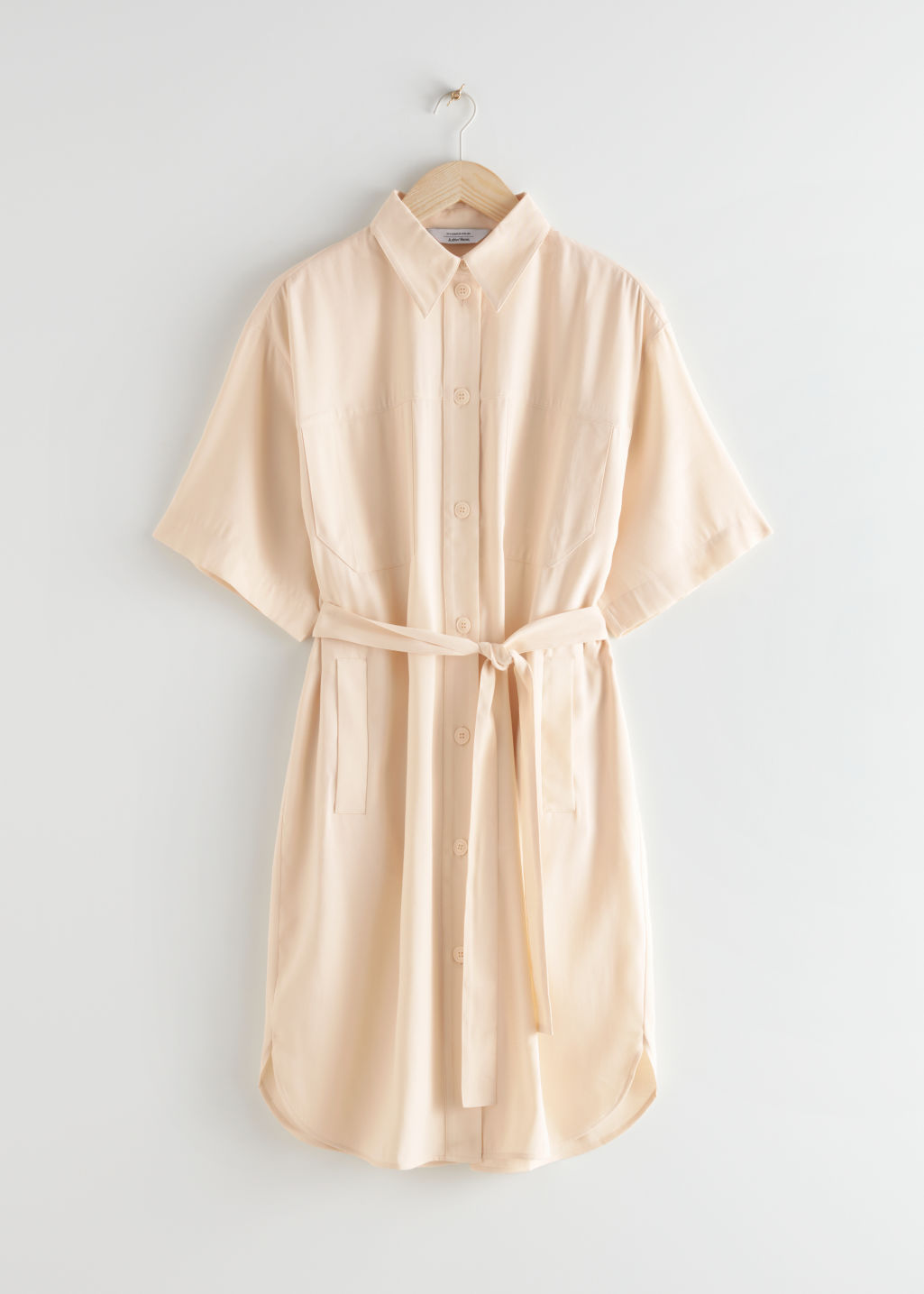 StillLife Front Image of Stories Oversized Shirt Midi Dress in Beige