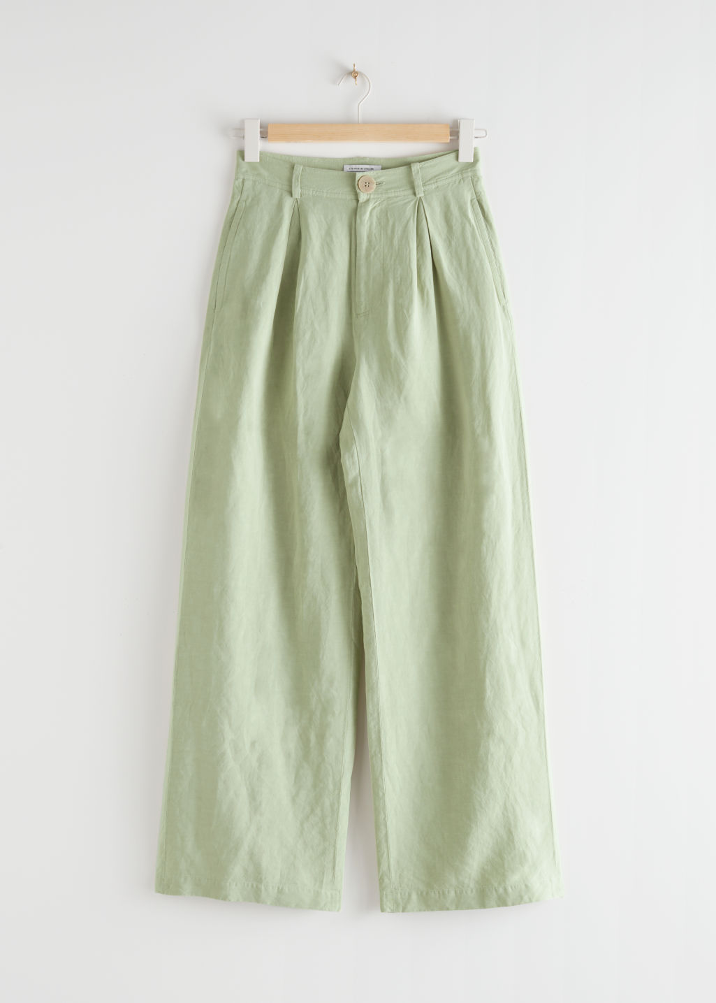 StillLife Front Image of Stories Pleated High Rise Wide Trousers in Green