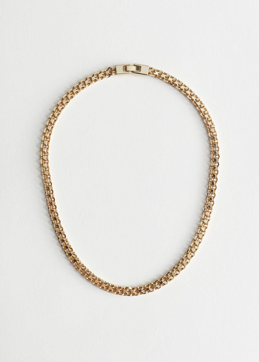 StillLife Front Image of Stories Fitted Chunky Chain Necklace in Gold