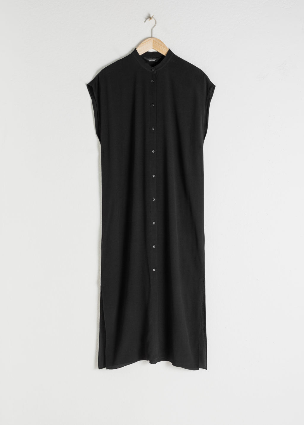 StillLife Front Image of Stories Midi Shirt Dress in Black