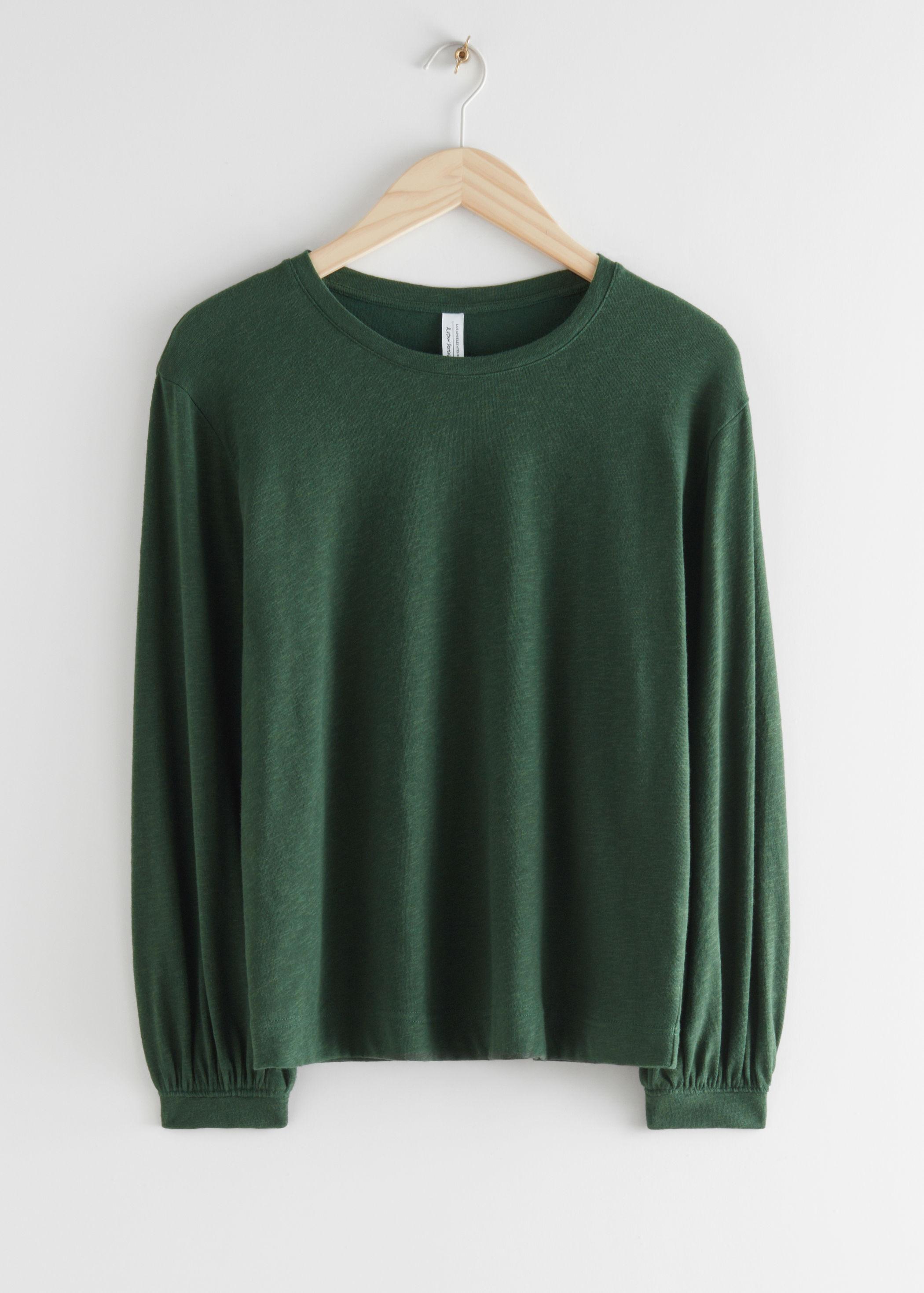 앤 아더 스토리즈 & OTHER STORIES Relaxed Long Sleeve T-Shirt,Dark Green