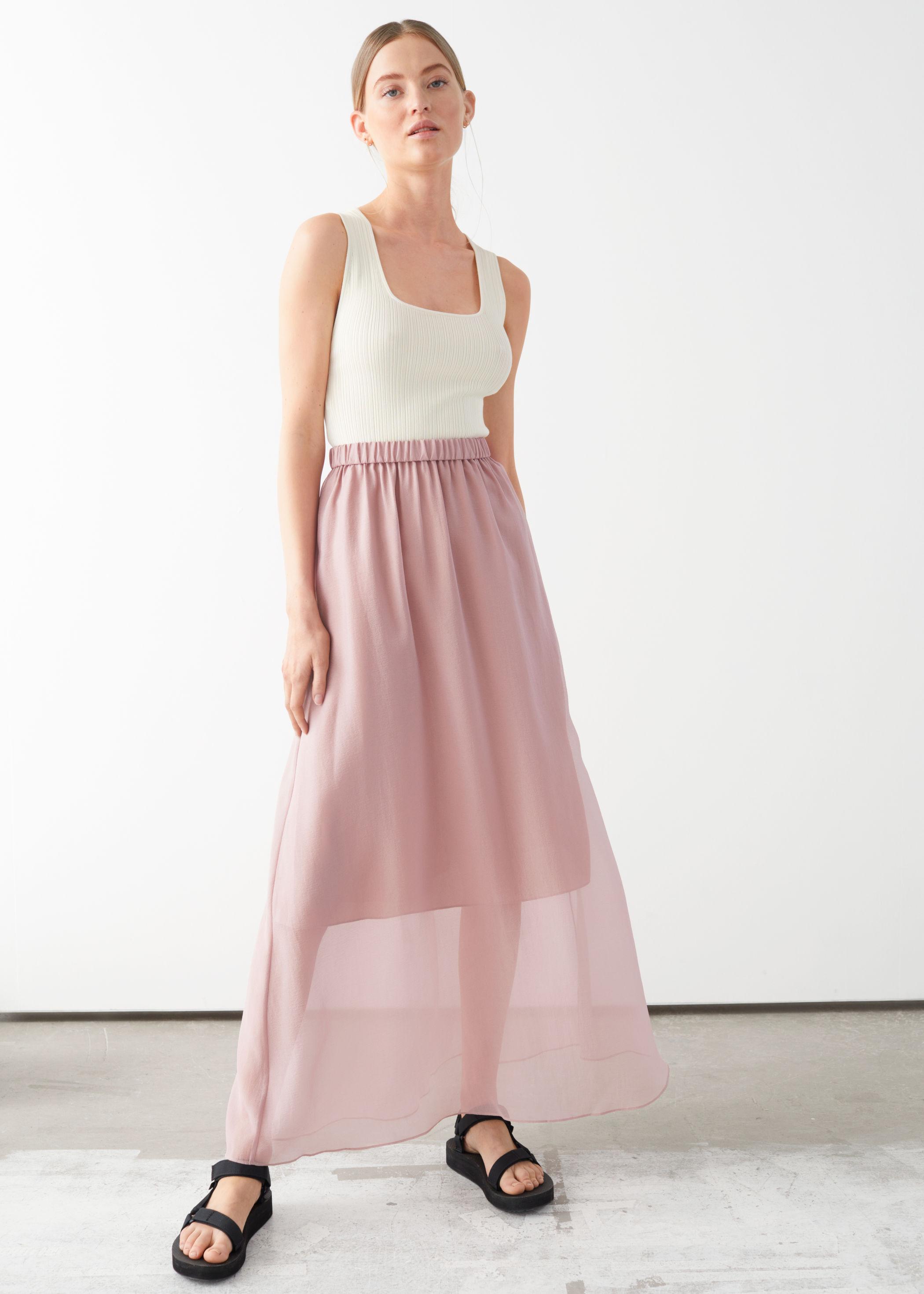 앤 아더 스토리즈 에이라인 맥시 스커트 & OTHER STORIES Sheer A-line Maxi Skirt,Pink