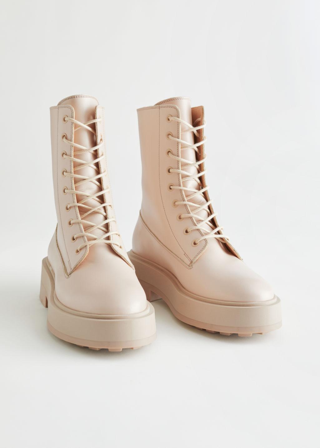 StillLife Front Image of Stories Chunky Platform Leather Boots in Beige