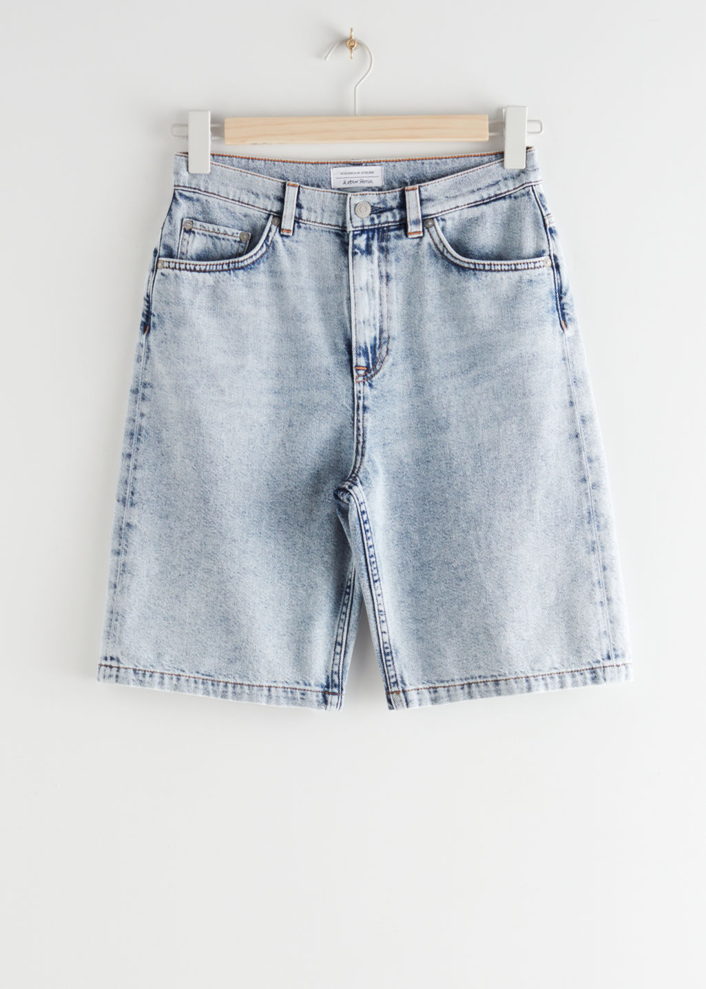 StillLife Front Image of Stories High Rise Denim Shorts in Blue