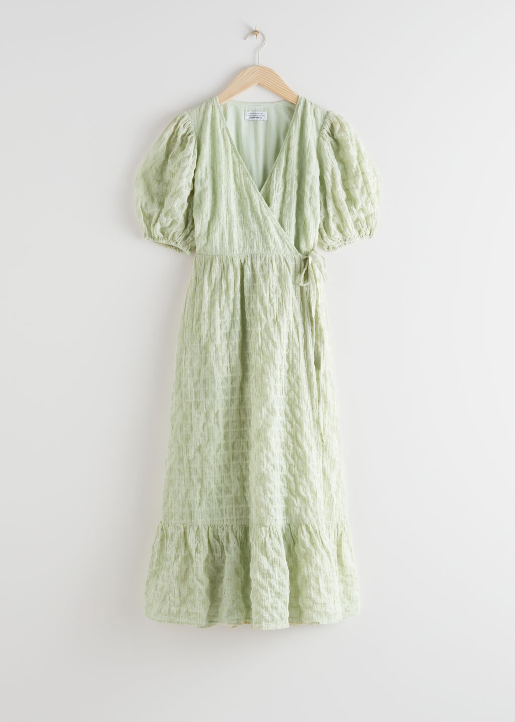 StillLife Front Image of Stories Puff Sleeve Wrap Maxi Dress in Green