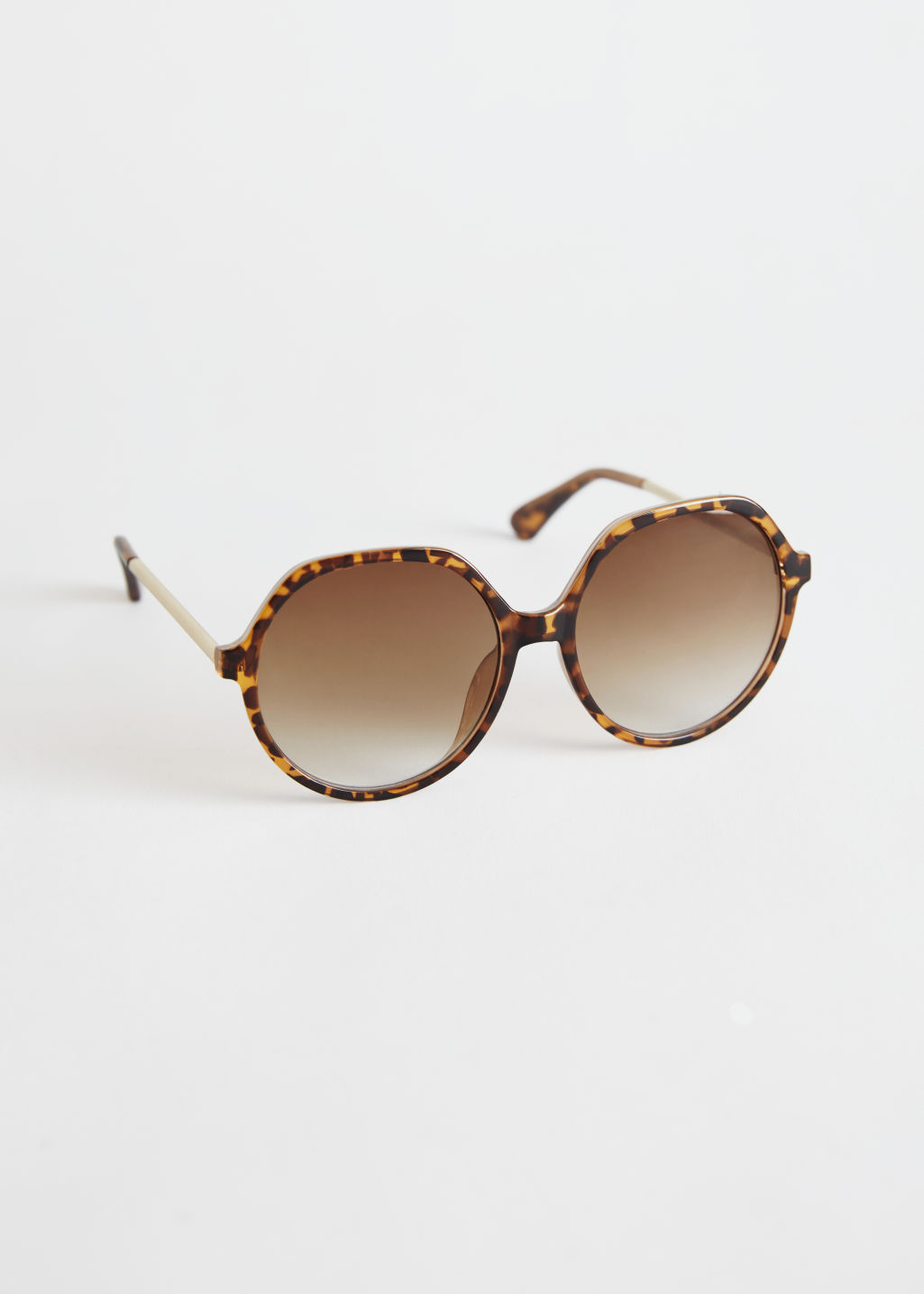 StillLife Front Image of Stories Oversized Tortoise Sunglasses in Beige