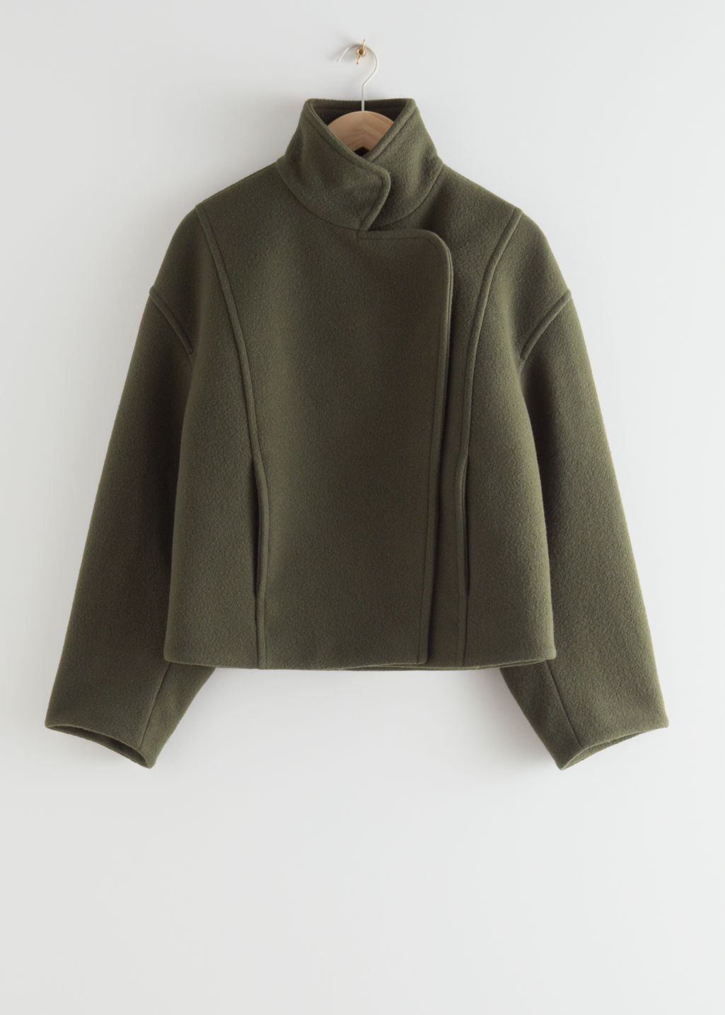 StillLife Front Image of Stories Boxy Cropped High Collar Jacket in Green