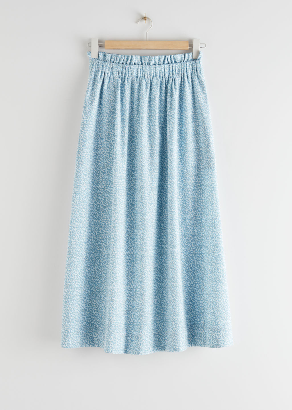 StillLife Front Image of Stories Frilled Midi Skirt in Blue