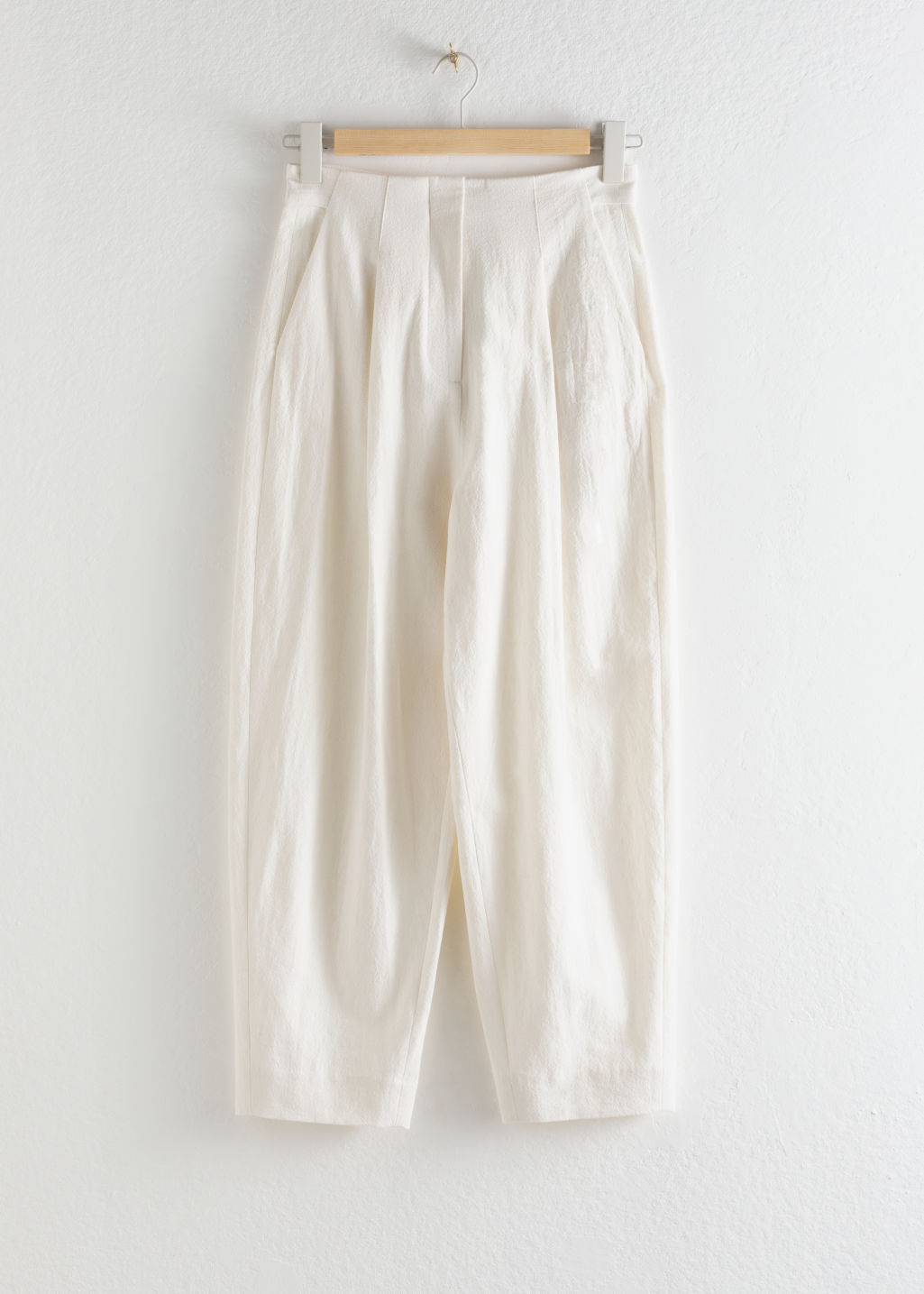 StillLife Front Image of Stories Linen Blend Relaxed Crepe Trousers in White