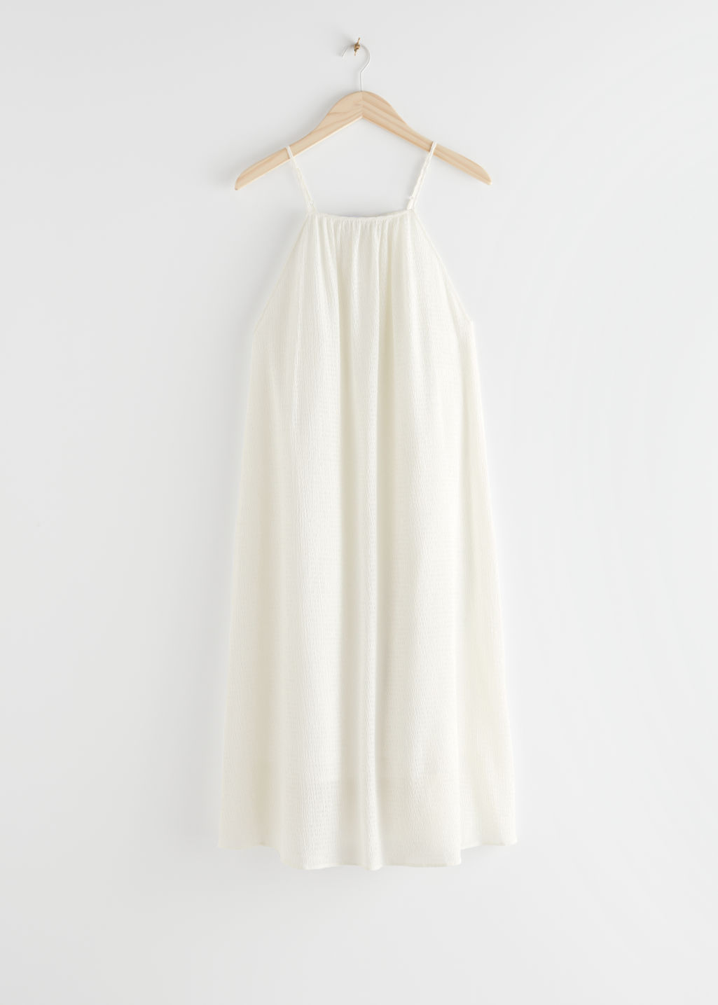 StillLife Front Image of Stories Spaghetti Strap Crepe Midi Dress in White
