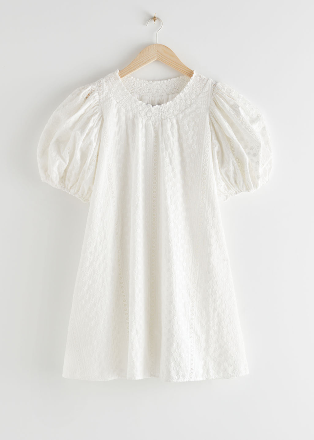StillLife Front Image of Stories Voluminous Floral Smock Mini Dress in White