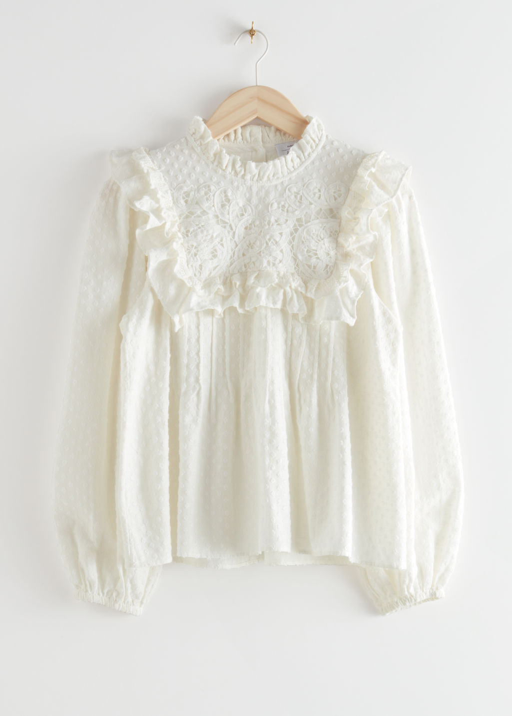 StillLife Front Image of Stories Embroidered Ruffle Blouse in White
