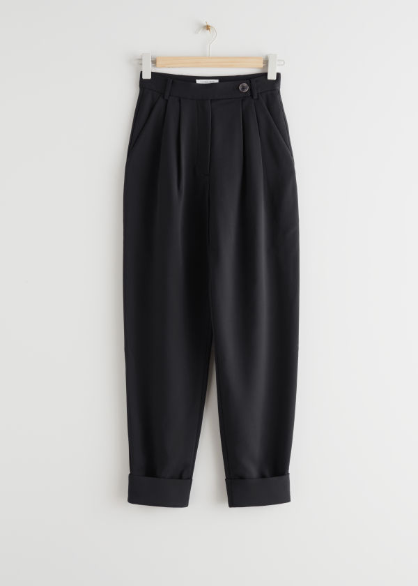 Pleated Folded Cuff Trousers