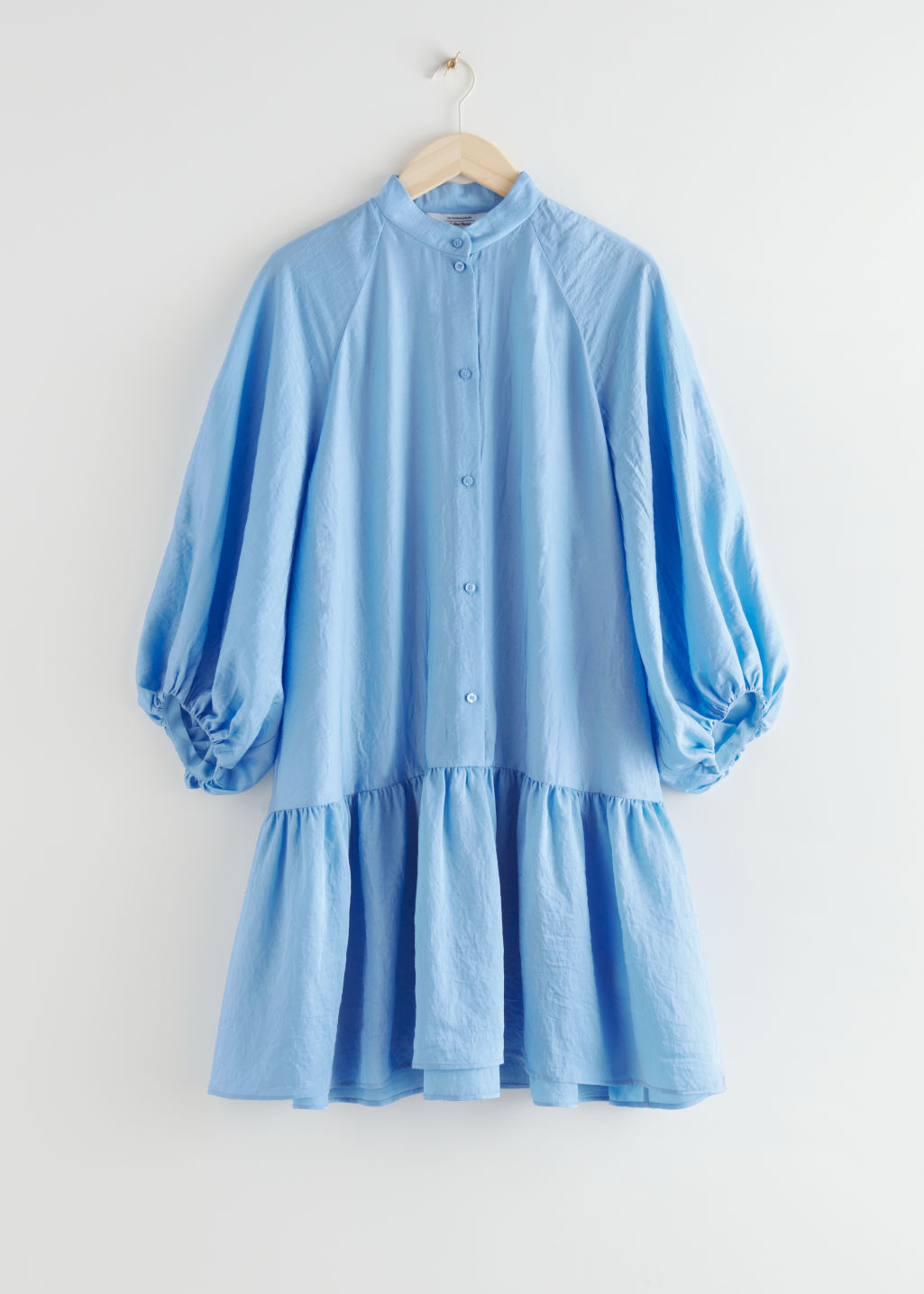 StillLife Front Image of Stories Voluminous Puff Sleeve Mini Dress in Blue