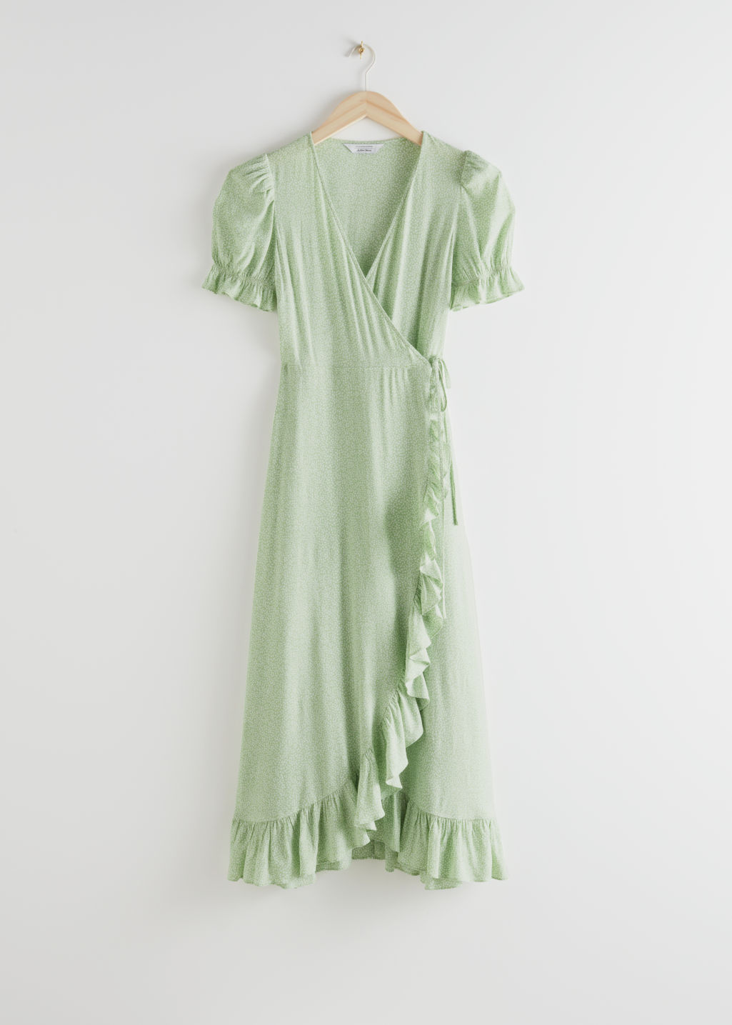 StillLife Front Image of Stories Ruffled Maxi Dress in Green