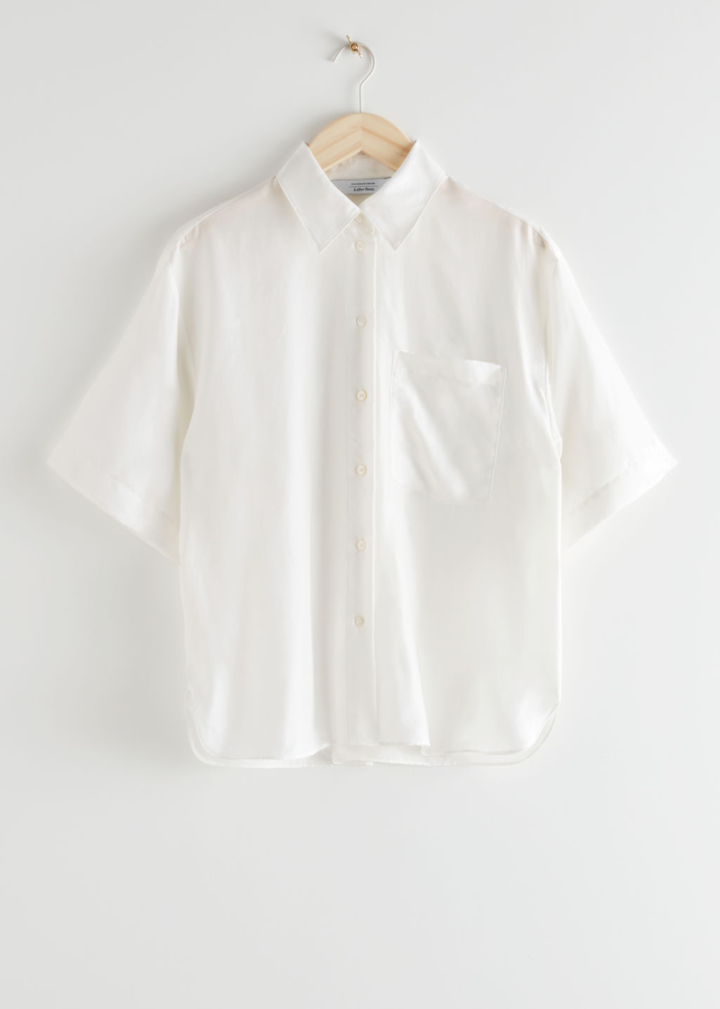 StillLife Front Image of Stories Loose Silk Shirt in White