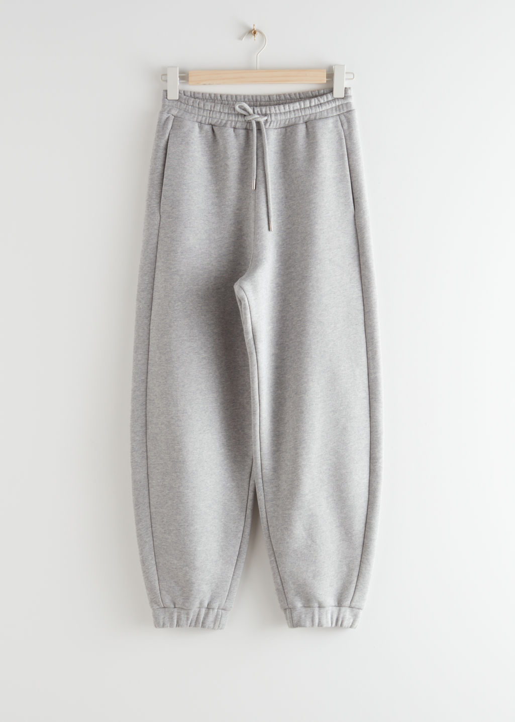 StillLife Front Image of Stories Oversized Organic Cotton Jogger Trousers in Grey