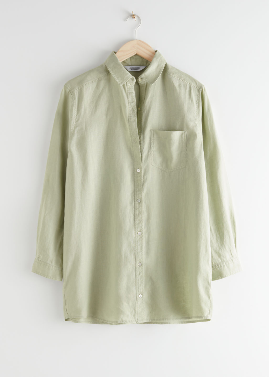 StillLife Front Image of Stories Oversized Linen Shirt in Green