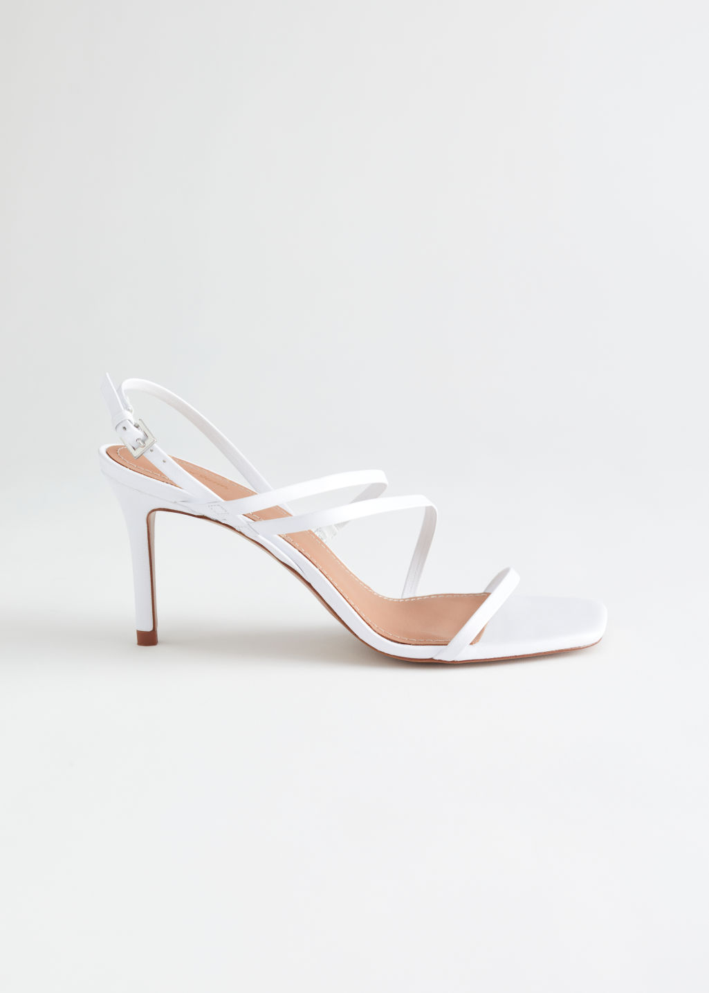 StillLife Left Image of Stories Strappy Leather Heeled Sandal in White