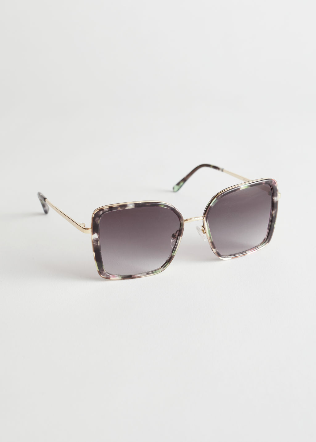StillLife Front Image of Stories Square Tortoise Sunglasses in Grey