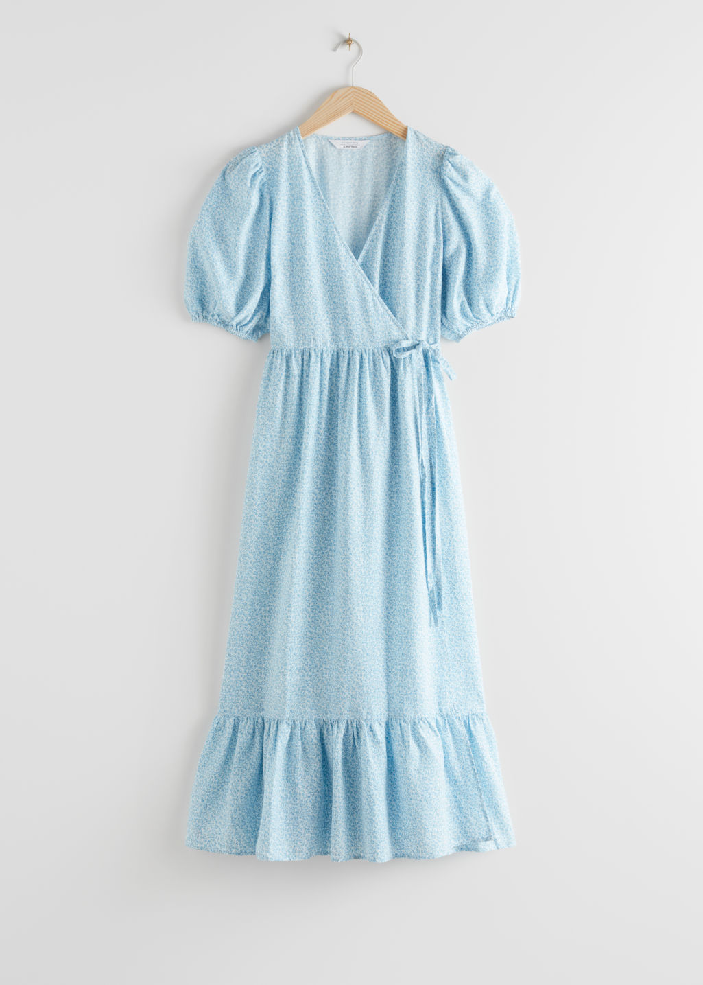 StillLife Front Image of Stories Puff Sleeve Wrap Maxi Dress in Blue
