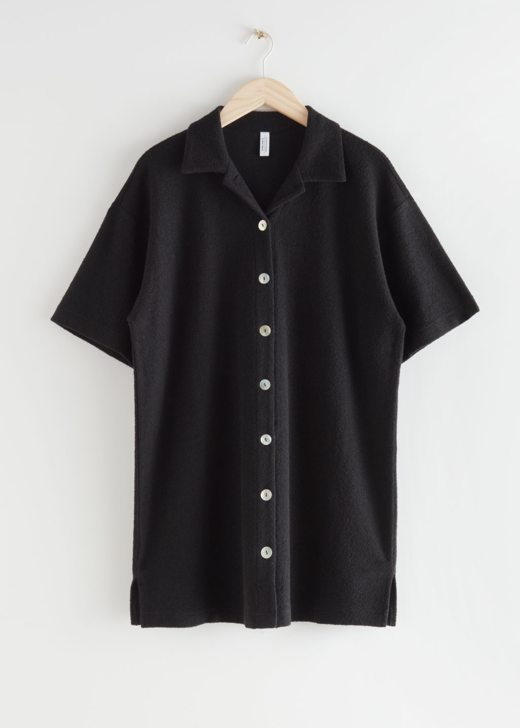 StillLife Front Image of Stories Oversized Buttoned Shirt Dress in Black