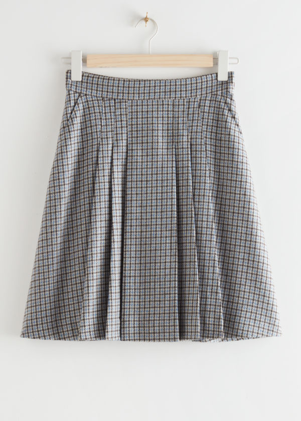 Pleated Wool Blend Mini Skirt