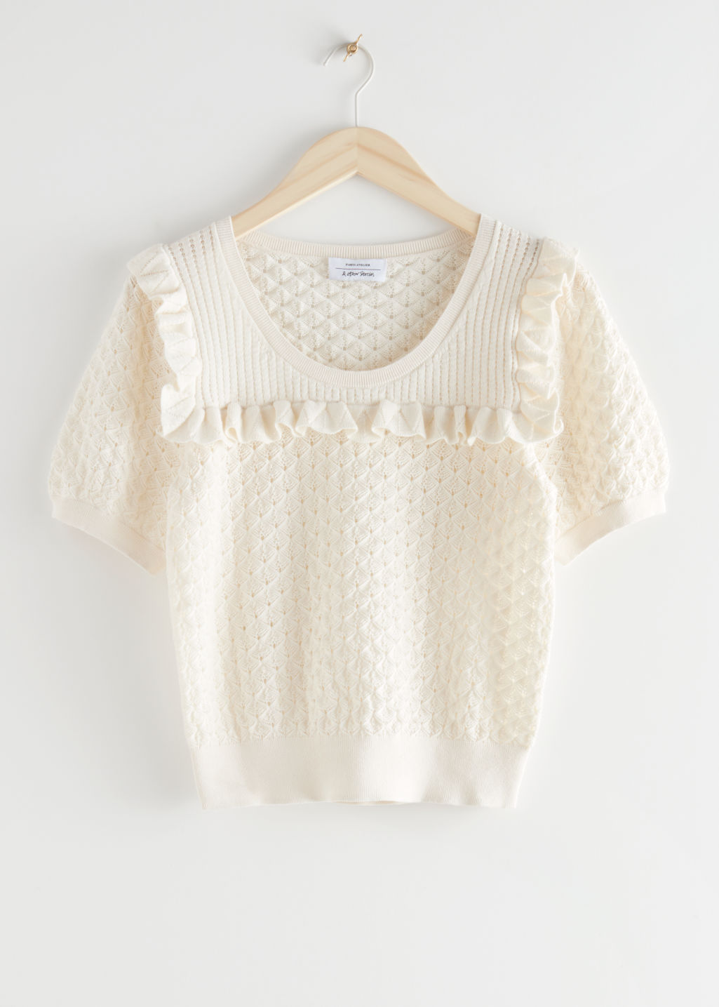 StillLife Front Image of Stories Frilled Puff Sleeve Knit Top in White