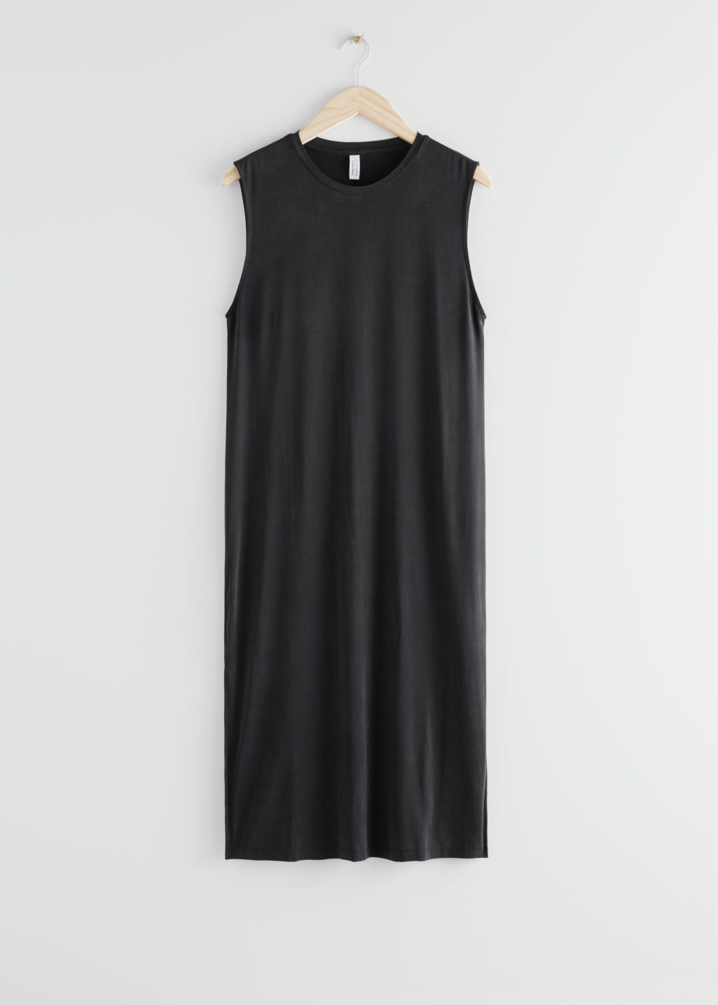 StillLife Front Image of Stories Double Slit Midi Dress in Black