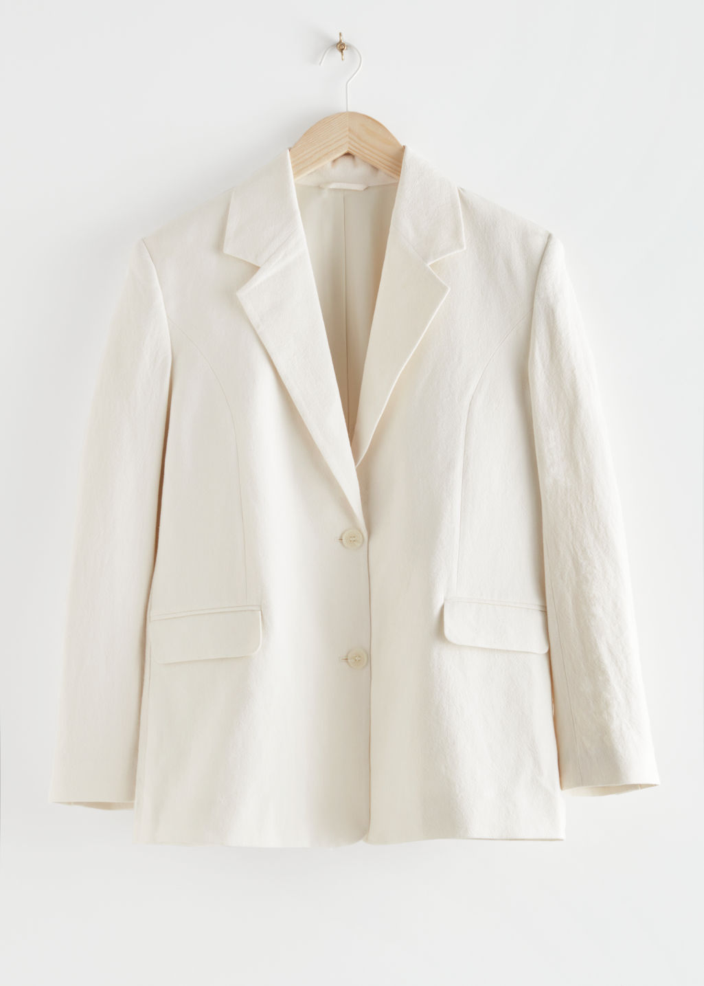 StillLife Front Image of Stories Linen-Blend Blazer in White