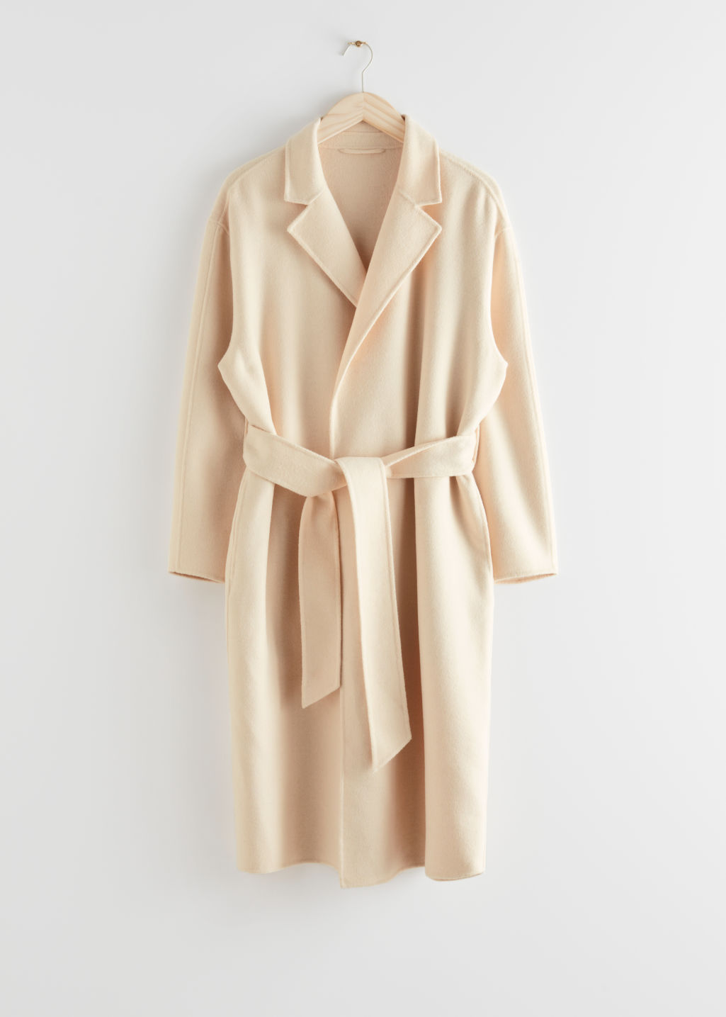 StillLife Front Image of Stories Belted Wool Blend Coat in Beige
