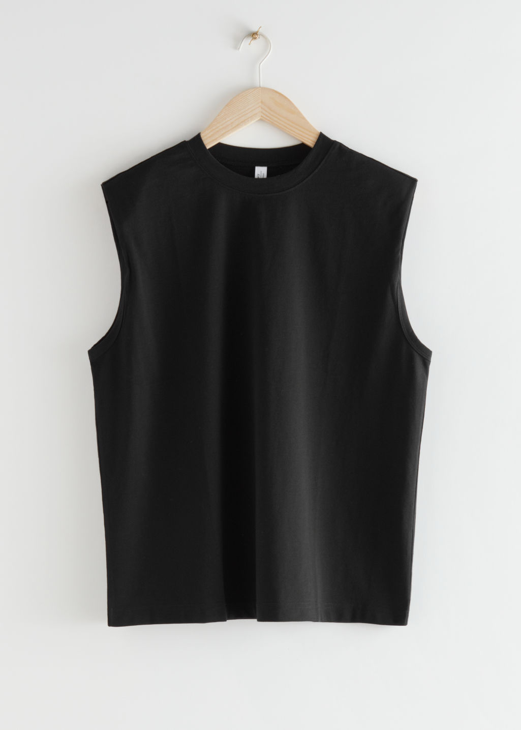 StillLife Front Image of Stories Crewneck Tank Top in Black