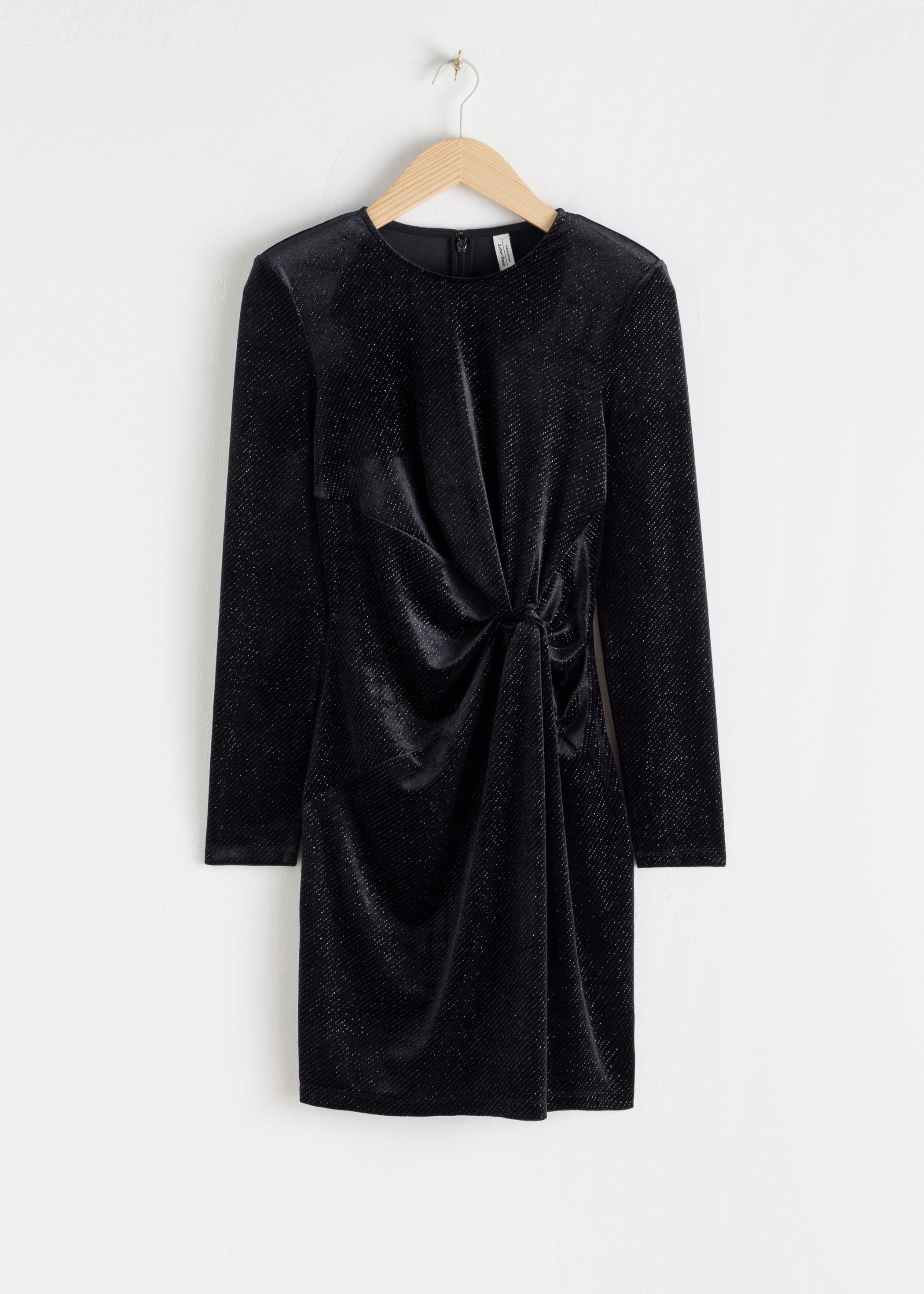 앤 아더 스토리즈 & OTHER STORIES Glitter Velour Padded Shoulder Mini Dress,Black Glitter