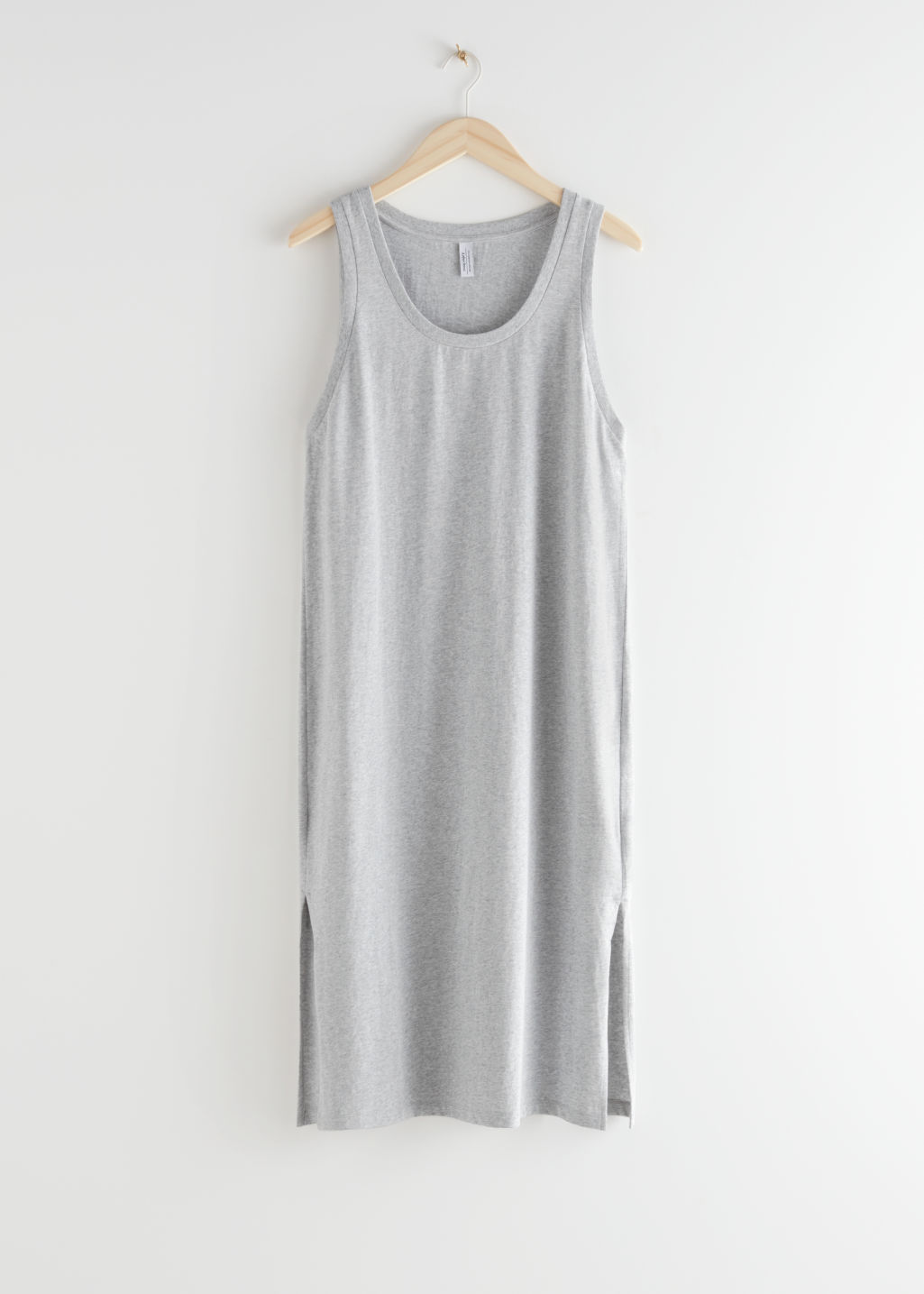 StillLife Front Image of Stories Relaxed Duo Slit Midi Dress in Grey
