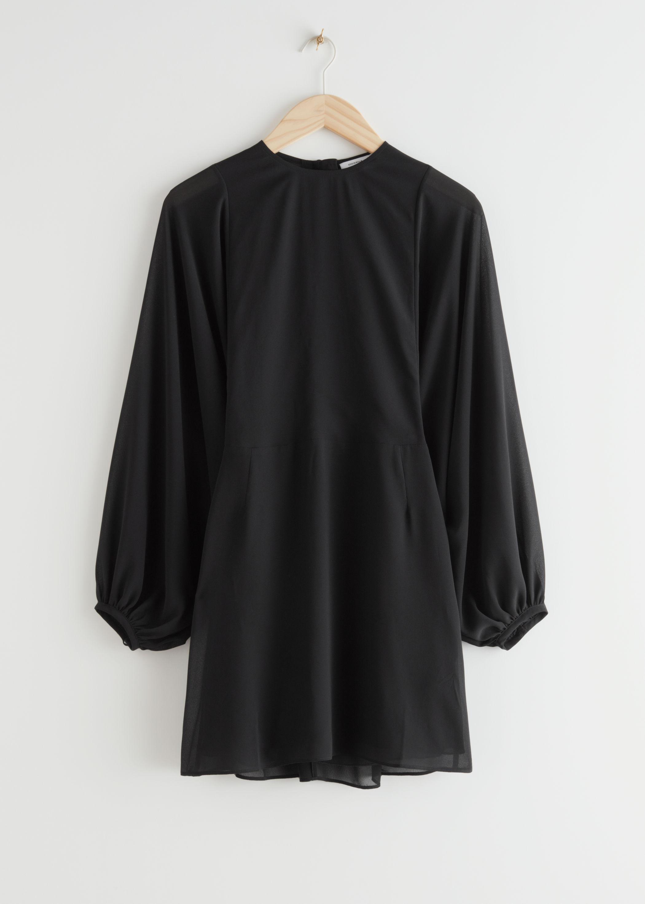 앤 아더 스토리즈 & OTHER STORIES Buttoned Voluminous Sleeve Mini Dress,Black