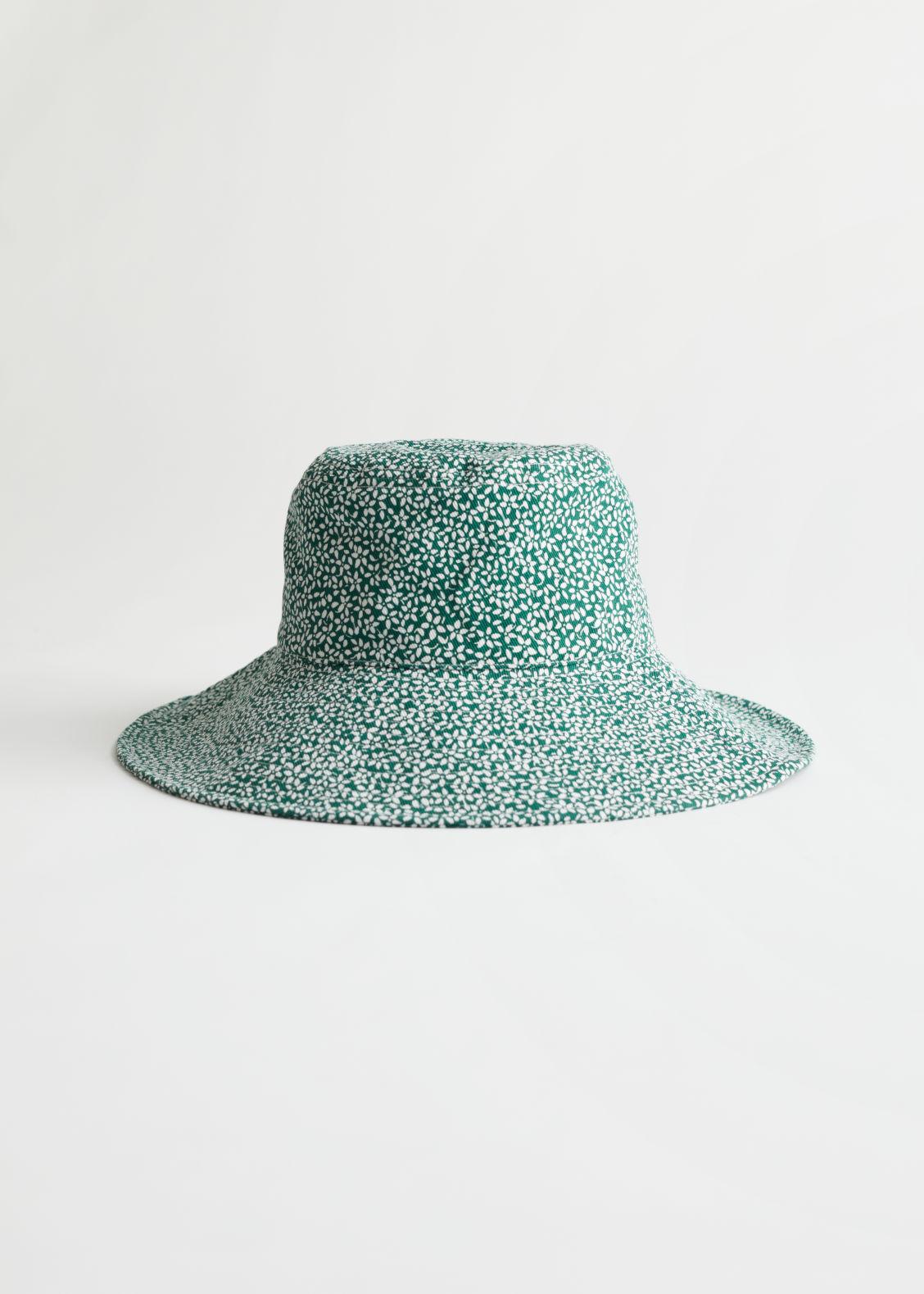 앤 아더 스토리즈 버킷햇 & OTHER STORIES Floral Printed Bucket Hat,Green, White