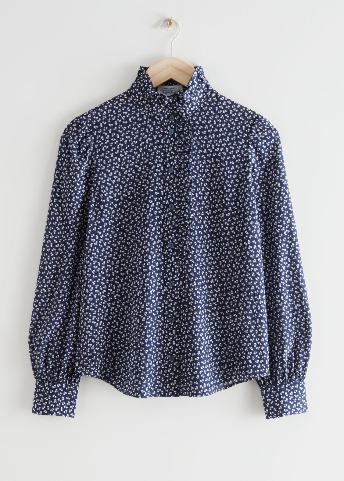 앤 아더 스토리즈 블라우스 & OTHER STORIES Ruffled Mulberry Silk Blouse,Blue Print