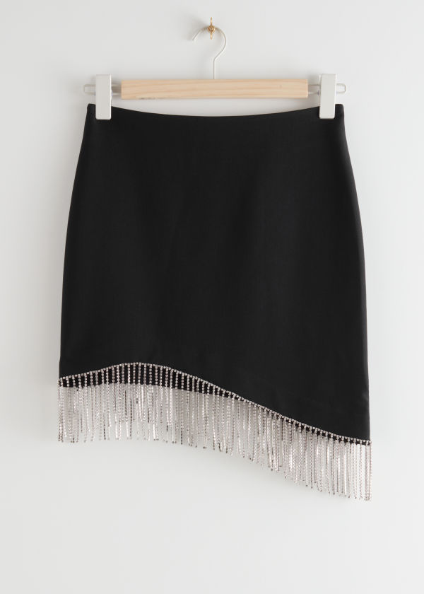 Asymmetric Diamanté Mini Skirt