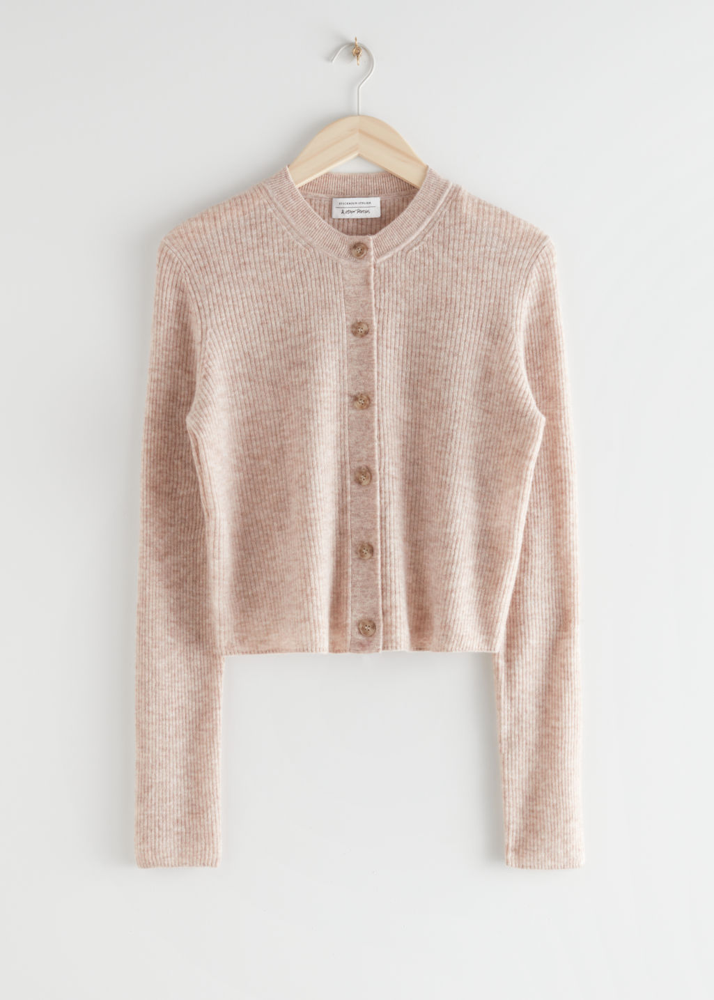 StillLife Front Image of Stories Alpaca Blend Button Up Cardigan in Beige