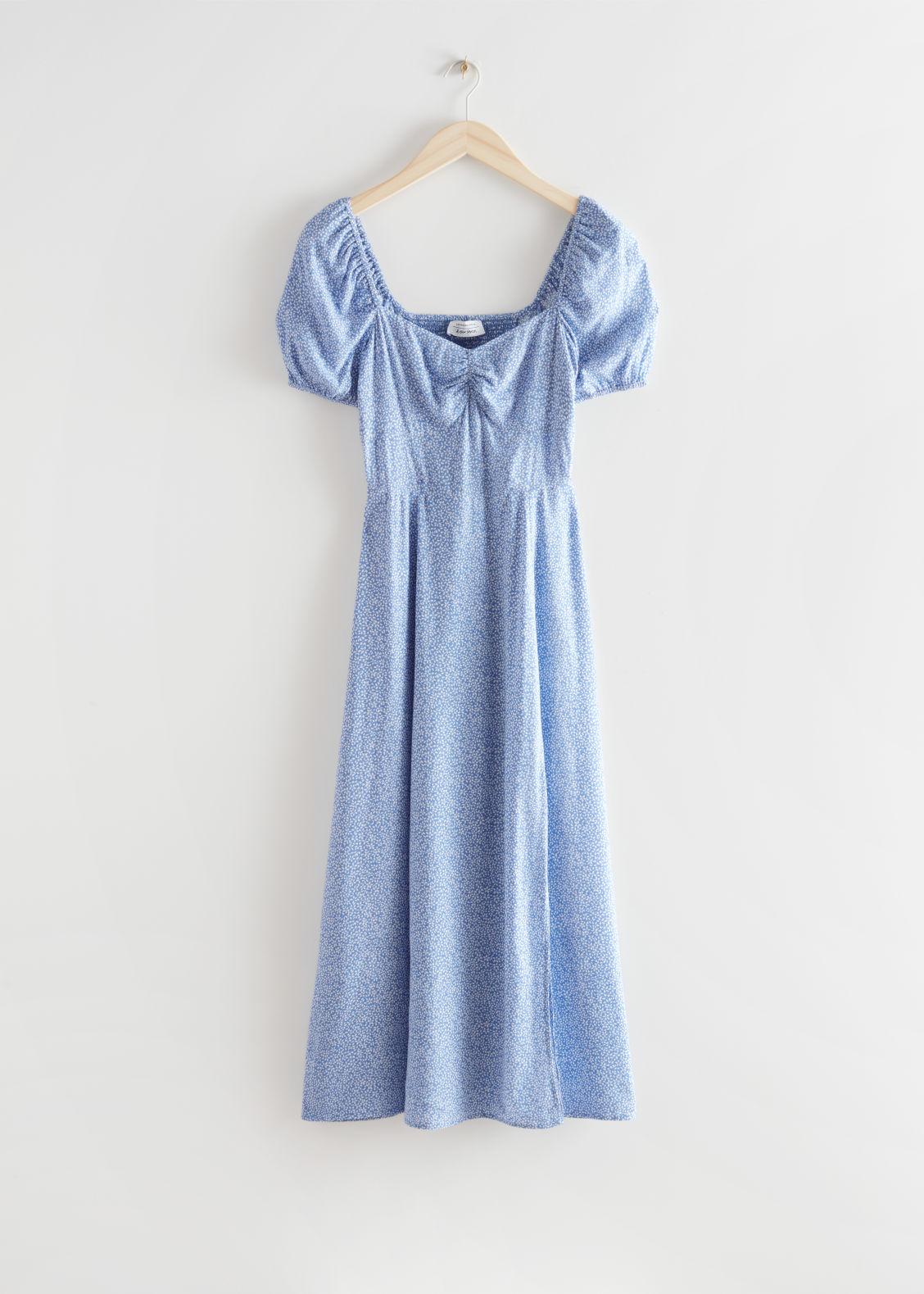 Flowy Puff Sleeve Midi Dress & Other Stories