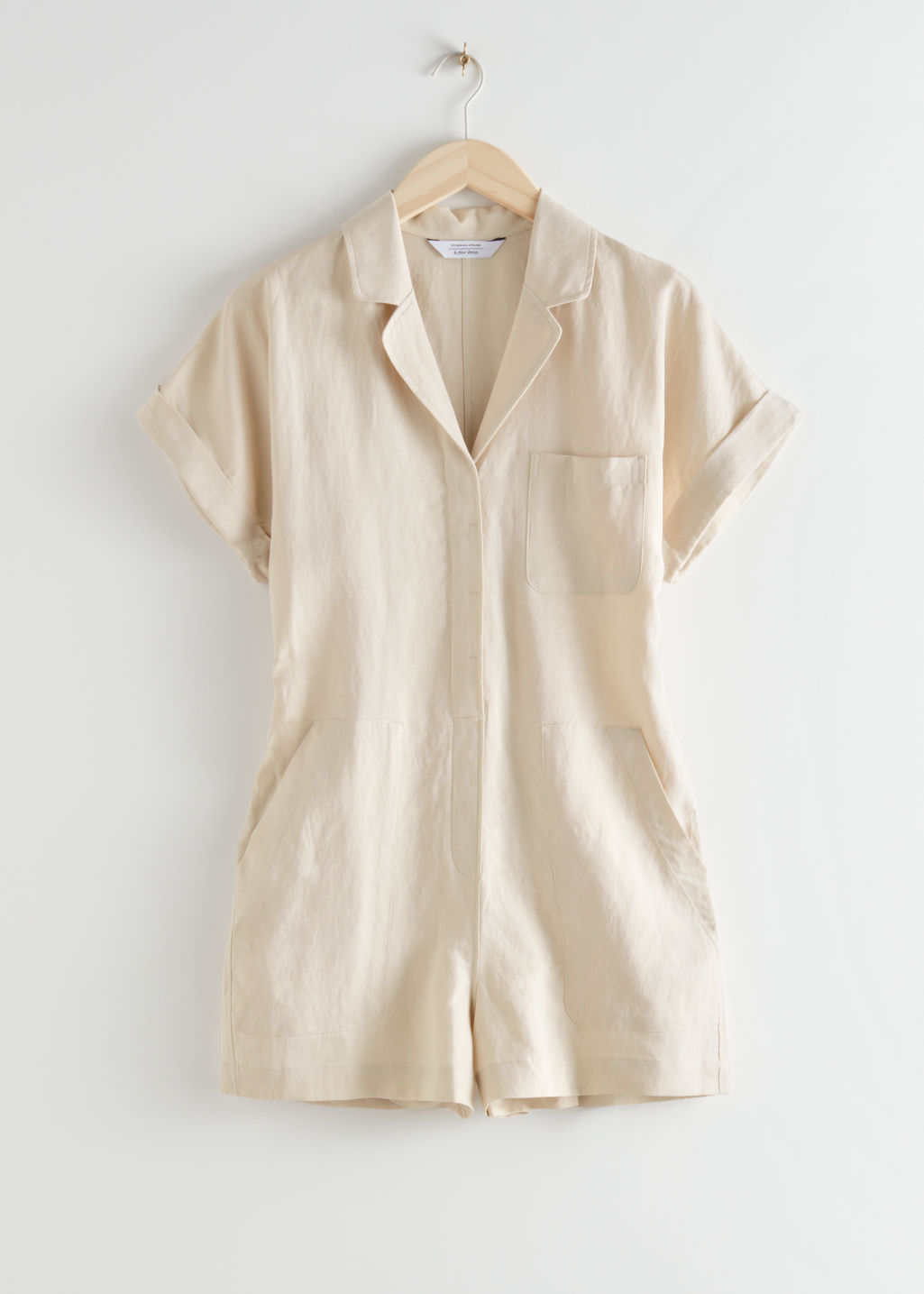 StillLife Front Image of Stories Boxy Lyocell Linen Blend Playsuit in Beige