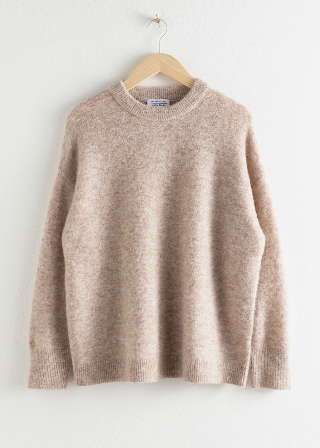 StillLife Front Image of Stories Oversized Alpaca Blend Relaxed Sweater in Brown