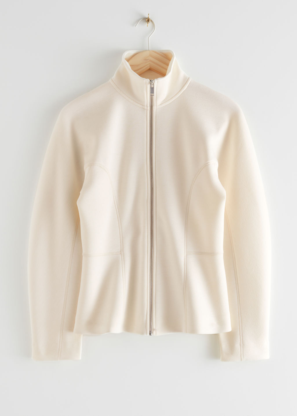 StillLife Front Image of Stories Scuba Zip Jacket in Beige
